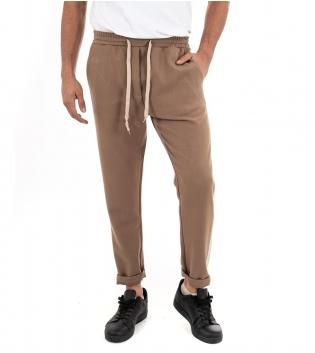 Pantalone Uomo Lungo Pantamolla Akirò Camel Riga Elastico Coulisse Casual GIOSAL