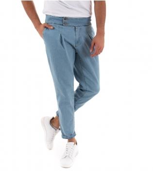 Pantalone Uomo Lungo jeans Denim Chiaro Black Svnday Elegante GIOSAL