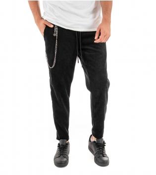Pantalone Uomo Tinta Unita Nero Elastico Coulisse Scamosciato Costine GIOSAL