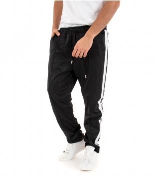 Pantalone Uomo Lungo Tinta Unita Nero Riga Elastico Over Tuta Casual GIOSAL