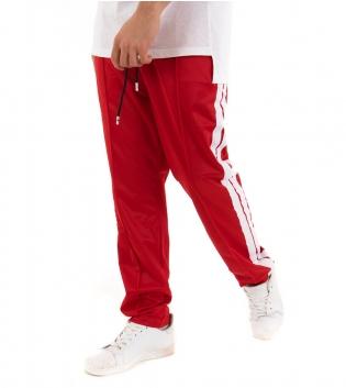 Pantalone Uomo Lungo Tinta Unita Rosso Riga Elastico Over Tuta Casual GIOSAL