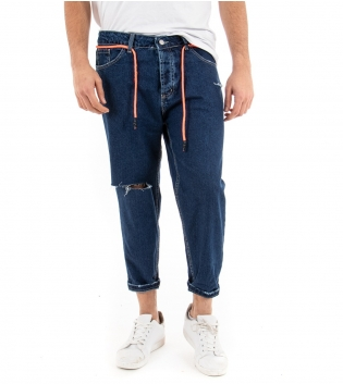 Pantalone Uomo Jeans Denim Scuro Rotture Blu Cinque Tasche GIOSAL