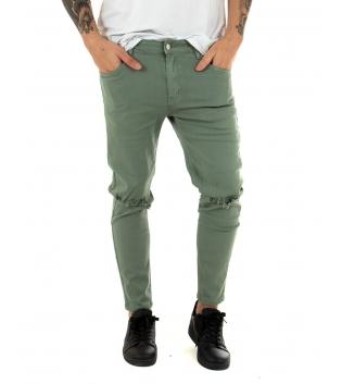 Pantalone Uomo Tinta Unita Rotture Verde Slim Elastico Casual GIOSAL-Verde-42