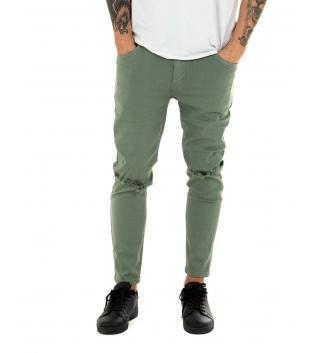 Pantalone Uomo Tinta Unita Rotture Verde Slim Elastico Casual GIOSAL