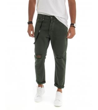 Pantalone Uomo Cotone Rotture Cinque Tasche con Catenina Tinta Unita Verde GIOSAL-Verde-42