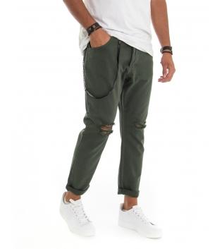 Pantalone Uomo Cotone Rotture Cinque Tasche con Catenina Tinta Unita Verde GIOSAL