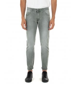 Pantalone Uomo Lungo Jeans Verde Cinque Tasche Casual Regular GIOSAL-Verde-44