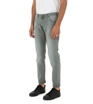 Pantalone Uomo Lungo Jeans Verde Cinque Tasche Casual Regular GIOSAL