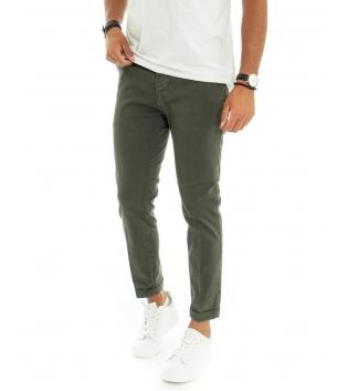Pantalone Uomo Chino Capri Akirò  Tinta Unita Verde Tasca America GIOSAL-Verde-44