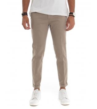 Pantalone Uomo Chino Capri Tinta Unita Beige Tasca America GIOSAL