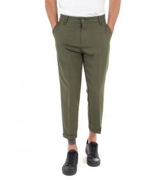 Pantalone Uomo Tinta Unita Casual Verde Tasca America Fibbia GIOSAL-Verde-S