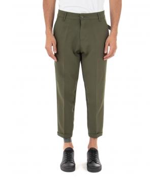 Pantalone Uomo Tinta Unita Casual Verde Tasca America Fibbia GIOSAL