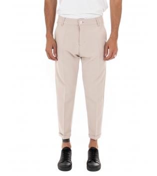 Pantalone Uomo Tinta Unita Casual Beige Tasca America Fibbia GIOSAL-Beige-S