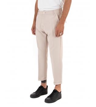 Pantalone Uomo Tinta Unita Casual Beige Tasca America Fibbia GIOSAL