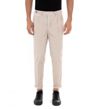Pantalone Uomo Tinta Unita Beige Black Svnday Casual Elegante GIOSAL-Beige-42