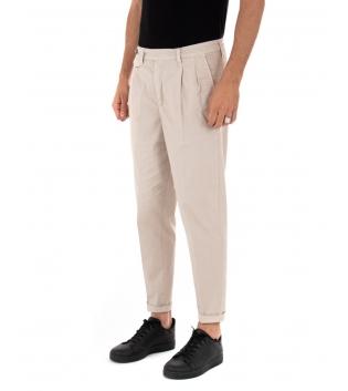 Pantalone Uomo Tinta Unita Beige Black Svnday Casual Elegante GIOSAL