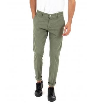 Pantalone Uomo Lungo Artigiani Vesuviani Microfantasia Tinta Unita Verde Tasca America GIOSAL-Verde-42