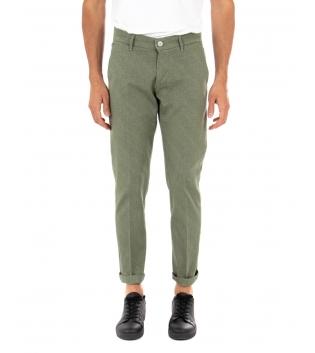 Pantalone Uomo Lungo Artigiani Vesuviani Microfantasia Tinta Unita Verde Tasca America GIOSAL