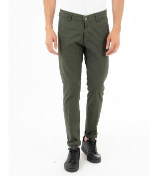 Pantalone Uomo Artigiani Vesuviani Microfantasia Verde Tasca America GIOSAL-Verde-42