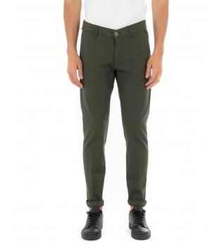 Pantalone Uomo Artigiani Vesuviani Microfantasia Verde Tasca America GIOSAL