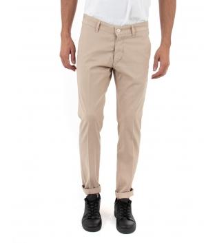 Pantalone Uomo Artigiani Vesuviani Microfantasia Beige Tasca America GIOSAL-Beige-42