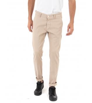 Pantalone Uomo Artigiani Vesuviani Microfantasia Beige Tasca America GIOSAL