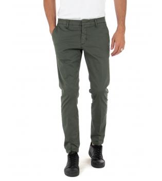 Pantalone Uomo Tinta Unita Verde Artigiani Vesuviani Slim Tasca America GIOSAL-Verde-48