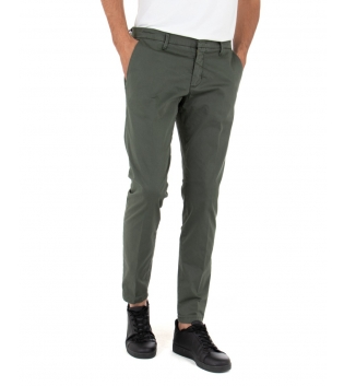 Pantalone Uomo Tinta Unita Verde Artigiani Vesuviani Slim Tasca America GIOSAL