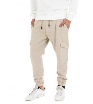 Pantalone Uomo Lungo Tinta Unita Beige Cargo Elastico Tasche Casual GIOSAL-Beige-42