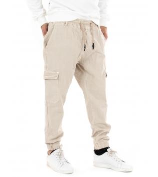 Pantalone Uomo Lungo Tinta Unita Beige Cargo Elastico Tasche Casual GIOSAL