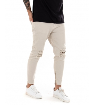 Pantalone Uomo Lungo Black Svnday Tinta Unita Skinny Beige Rotture Zip GIOSAL-Beige-42