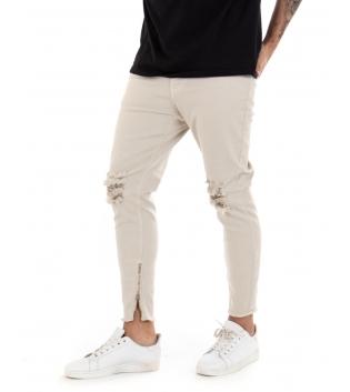 Pantalone Uomo Lungo Black Svnday Tinta Unita Skinny Beige Rotture Zip GIOSAL