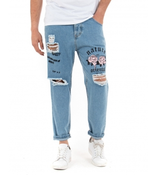 Pantalone Uomo Lungo Jeans Denim Rotture Stampe Scritte Rosa Cavallo Basso GIOSAL