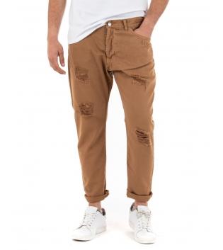 Pantalone Uomo Jeans Paul Barrell Tinta Unita Camel Rotture Cavallo Basso GIOSAL