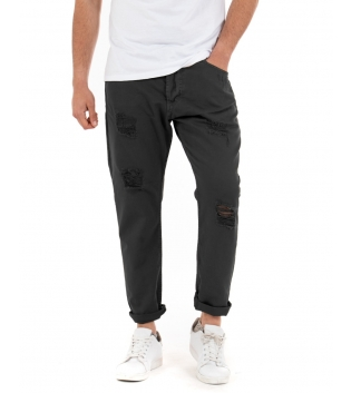 Pantalone Uomo Jeans Paul Barrell Tinta Unita Nero Rotture Cavallo Basso GIOSAL