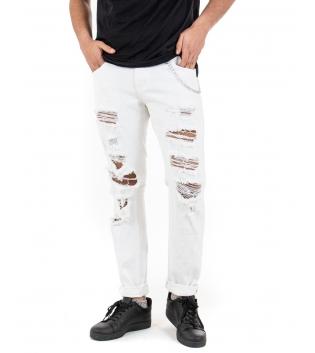 Pantalone Uomo Bianco Rotture Cinque Tasche Casual GIOSAL