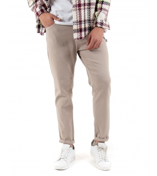 Pantalone Uomo Tinta Unita Beige Catenina Cinque Tasche GIOSAL-Beige-42