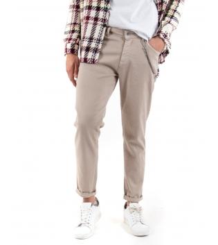 Pantalone Uomo Tinta Unita Beige Catenina Cinque Tasche GIOSAL