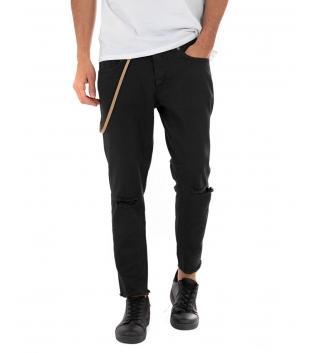 Pantalone Uomo Lungo MOD Tinta Unita Nero Jeans Rotture Cavallo Basso GIOSAL