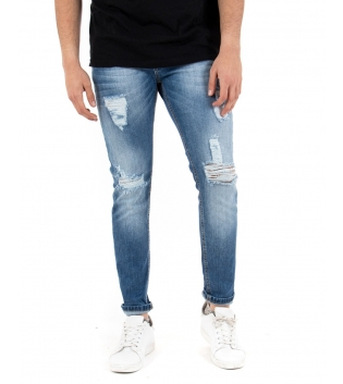 Pantalone Uomo Jeans Denim Rotture Skinny Casual Cinque Tasche GIOSAL