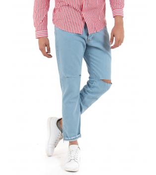 Pantalone Jeans Denim Rotture Ginocchio MOD Casual GIOSAL