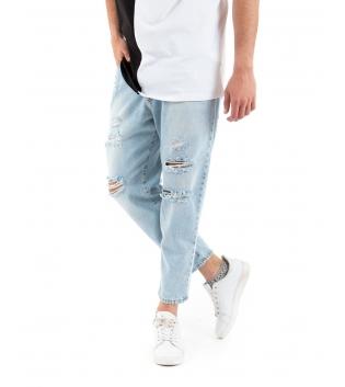 Pantalone Uomo Jeans Denim Chiaro Rotture MOD Cinque Tasche GIOSAL