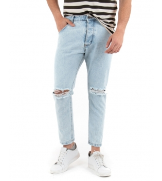 Pantalone Uomo Lungo Jeans Denim Chiaro Black Svnday Casual GIOSAL