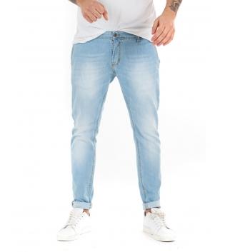 Pantalone Uomo Lungo Jeans Denim Chiaro Akirò Tasca America GIOSAL