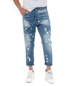 Pantalone Uomo Jeans Rotture Denim Paul Barrell Macchie Pittura Stone Washed GIOSAL