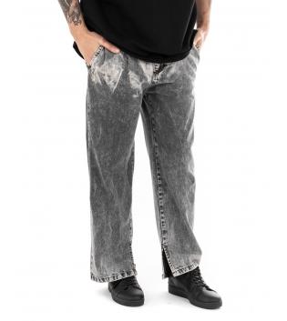 Pantalone Uomo Jeans Palazzo Grigio Sfumato Paul Barrell Straigh Fit Cinque Tasche GIOSAL