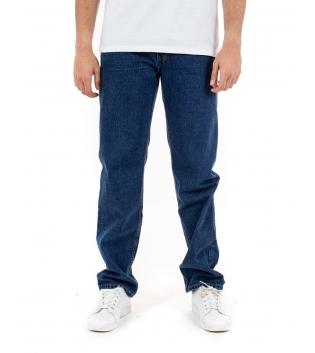 Jeans Uomo Pantalone Lungo Denim Scuro Blu Straight Fit Cinque Tasche GIOSAL