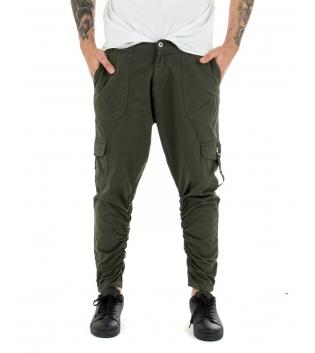 Pantalone Uomo Tinta Unita Verde Cargo Black Svnday Casual GIOSAL-Verde-42