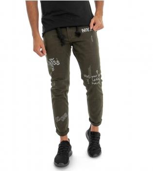 Pantalone Verde Uomo Cinque Tasche Fantasia con Stampa Regular Casual GIOSAL-Verde-42
