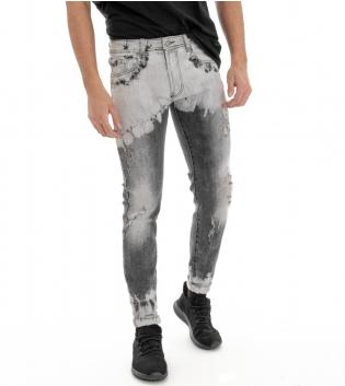 Pantalone Jeans Cinque Tasche Denim Uomo Stone Wash Grigio Rotture Effetto Slavato GIOSAL